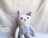 Cat Doll Sewing Pattern & Tutorial - PDF printable - kitty, girl, boy, cloth, fabric, simple, easy, softie, stuffed, sew, soft, toy, gift