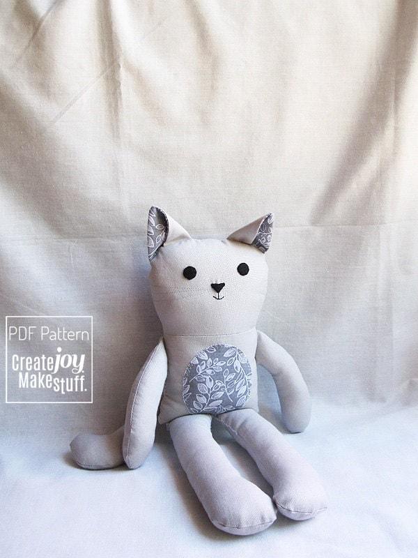 13 cat doll sewing pattern tutorial pdf printable - Cat clothing patterns free ...