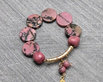 Pink Bracelet, Elastic, Pink Grey Rhodonite Beads, Gold Filled Tube With Charm , Rustic, For Any Outfit