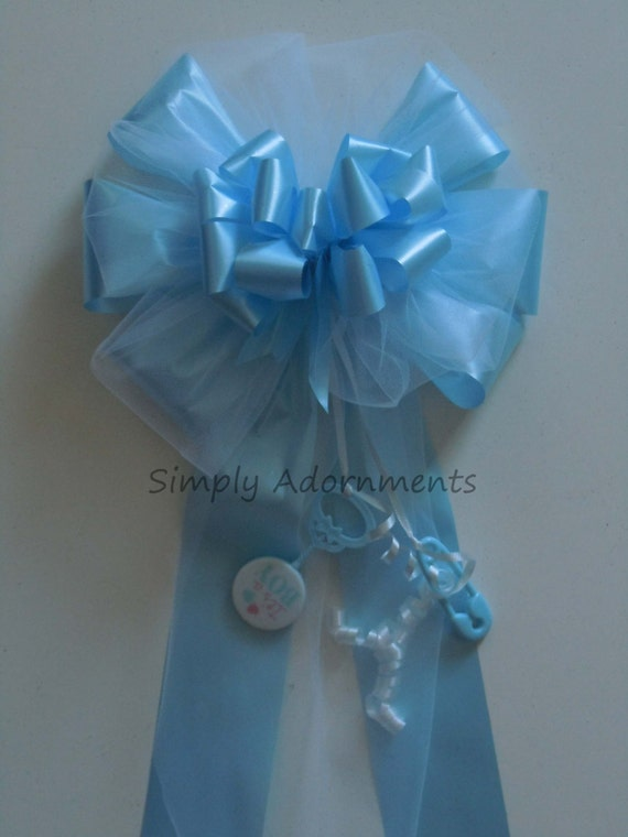 It's a Boy Bow Handmade Indoor Outdoor Baby Boy Shower Bow Blue Flora Satin White Tulle Bow Newborn Party Door Decoration Bow