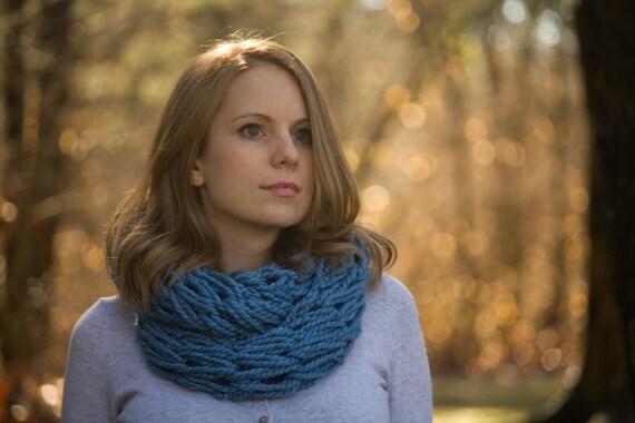 Blue Knit Scarf, Sky Blue Infinity Scarf, Women's Winter Fashion Accessories