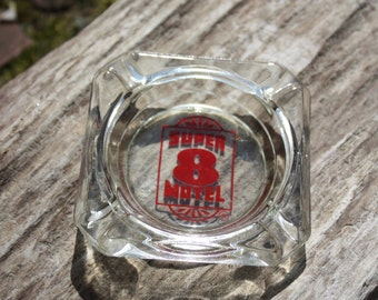 Vintage Super 8 Motel, Hotel Glass Ashtray/Home Decor, Red Printing In Center, No Chipping, Collectible, Great For Use Or Display