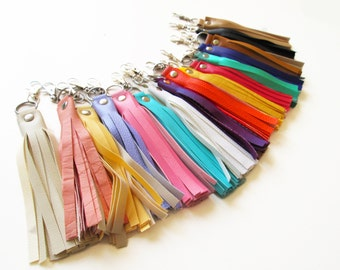 Leather tassel, Faux leather, Keychain, Accessories for bags, Color of your choice