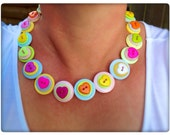 Pastel, heart, button necklace - statement necklace
