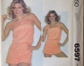 Sale * REDUCED * PRICE ** 1979 McCall's Playsuit Pattern 6597 Size Small 10-12 bust 32-1/2 -34 OR size medium 14-16 bust 36-38
