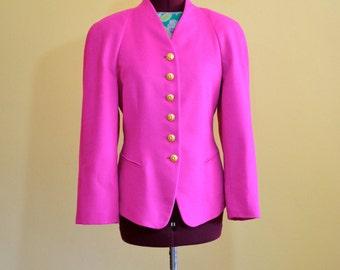 1980s Vintage Escada Magenta Pink Blazer Jacket size 40 (L) bust 40