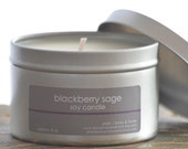 Blackberry Sage Soy Candle Tin 8 oz. - summer soy candle - spicy candle - blackberry candle - musk soy candle