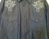 Rockabilly Tattoo Upcycled Embroidered Country Western Shirt Size XL