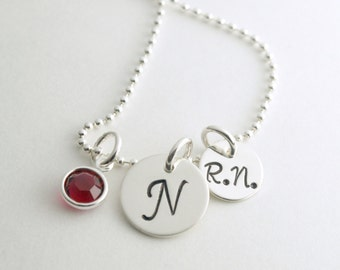 Personalized Gift for Nurse - RN Initial Necklace - Nurse Jewelry - Nurse Necklace with Personalized Initial  - Hand Stamped Sterling Silver