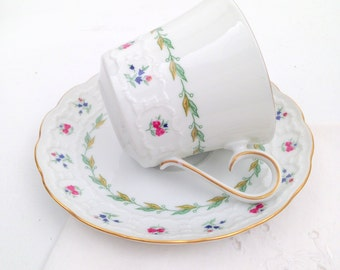 Mid Century Franconia K & A Krautheim Selb Bavaria Germany Bone China Musette Pattern  Tea Cup and Saucer Cottage Tea Party Shabby Chic