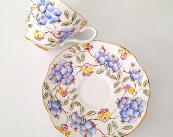 Antique English Bone China Foley Springdale Pattern Tea Cup & Saucer Tea Party - c. 1898 - 1940