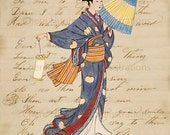 Art Print Blue Kimono Girl -Night Time Pilgrimage to the Shrine- Japanese Woodblock Style Illustration