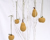 Autumn Decorations / Gold Ornaments / Gold Christmas Tree Decorations / Autumn Fruit / Apple Pear Ornaments