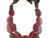 Cyber Monday 30% SALE - Wine Red Tagua & Leather Statement Necklace - SACHA Style