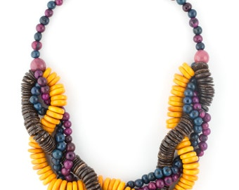SALE 30% Off / Tagua Mixed Seed Statement Necklace / Seed Jewelry / Tagua Jewelry / Acai Jewelry / Acai Necklace / Statement Necklace