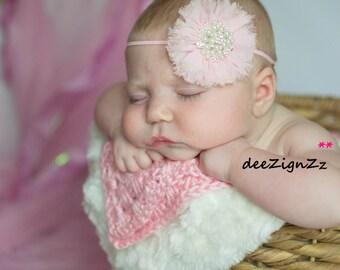 Pink Hair Accessory, Chiffon, Flower, Pearls, Shabby, Frayed, Headband, Photo Prop, Flower Girl, Wedding, Bridesmaid, Birthday, Sparkle
