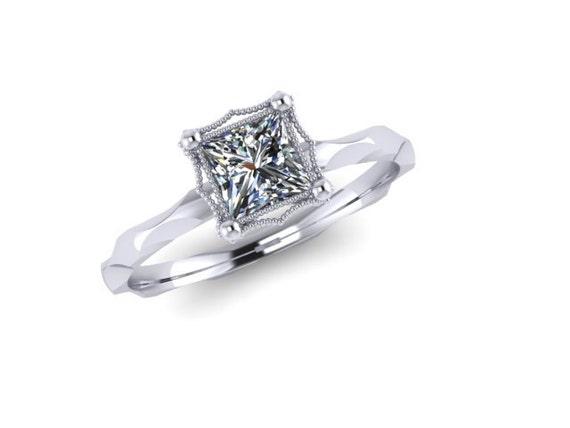 Princess Cut 0.70ct Diamond with Irregular Band and Milgrain