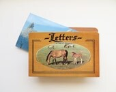 Vintage Letter Holder, Wooden Letter Holder, Horse Theme Letter Box, 80s Home Decor