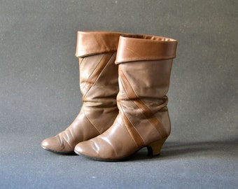 Vintage ankle boots brown cognac leather  US 7,5 - UK 5 - EU 38 wide leg heels 80s womens fashion accessories