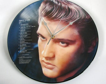 """ELVIS Vinyl Record CLOCK made from recycled original 12"""" Picture disc, Dreamy, Elvis Presley"""