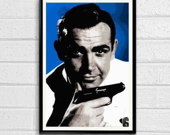 007 James Bond Sean Connery Pop Art Poster Print #1 Size 11 x 17