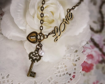 Love key & lock charm necklace adjustable forever love romantic heart vintage bronze jewellery accessory valentine gift