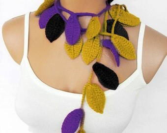 baltimore ravens, football, Crochet ivy, red rubby ivy leafs Lariat Scarf. Fashion Flower Scarves, Necklace...