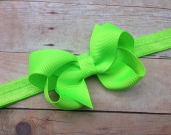 Lime green baby headband- lime green bow headband, green newborn headband, green St. Patricks's Day headband, baby headbands, newborn
