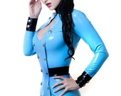 KELLY Latex Rubber Police Uniform Style Dress
