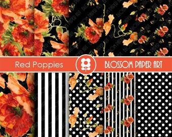 Digital Paper Poppies Scrapbooking Paper Pack, Red and Black Digital Paper Pack, Floral Scrapbook - Digital Paper -1640