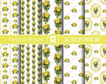 Digital Scrapboooking Paper, Yellow Roses Digital Paper Pack, Floral Scrapbooking, Decoupage - Collage Sheet - Digital Paper - 1819