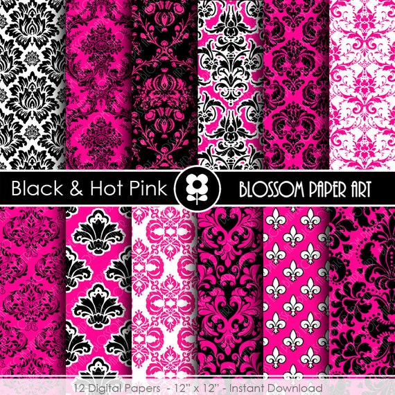 Papel decorativo fucsia y negro papeles digitales para for Papel autoadhesivo decorativo