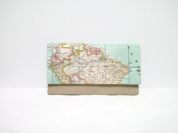 World Map Print Clutch