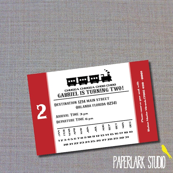 Choo Choo Train Ticket Birthday Invitation