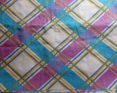 Clearance - Turquoise & Lilac Plaid Poly Blend Fabric - 2 Yards - Springtime Easter