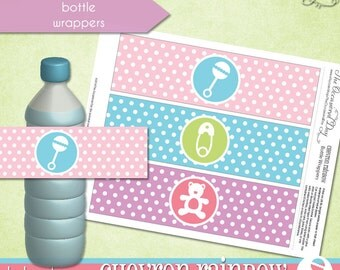Chevron Rainbow Bottle Wrappers • PRINTABLE Baby Shower • by The Occasional Day