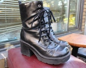 90s Black Leather 'Xtreme' Chunky Lace Up Boots by MUDD size 8