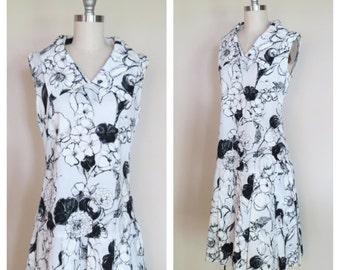 60s cotton dress size small / vintage drop waist dress