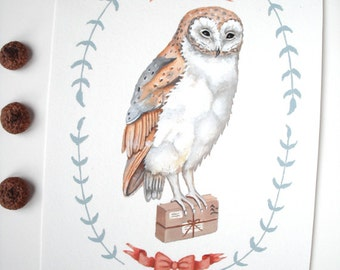 Original Painting: Owl Express - illustration, art, snail mail, post, forest, nursery, flight, feathers, woodland, cute, wildlife, animals
