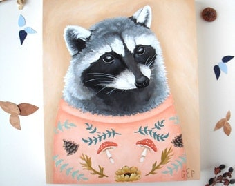 Original Painting: Sweatered Raccoon - illustration, knit, knitted, jumper, forest, pink, rustic, artwork, woodland, cute, wildlife, animals