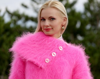 Gorgeous Pink Hand Knitted Mohair Sweater with convertable collar by SuperTanya