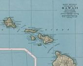 Hawaii/West Indies Vtg Map, 1947