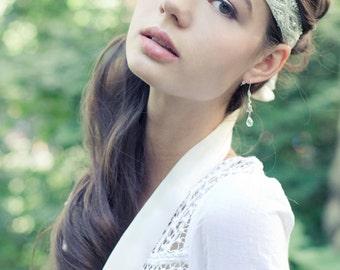 Art Deco Gatsby Beaded Headband, Bohemian Bridal Headband, Wedding Headband Silver and Pearls
