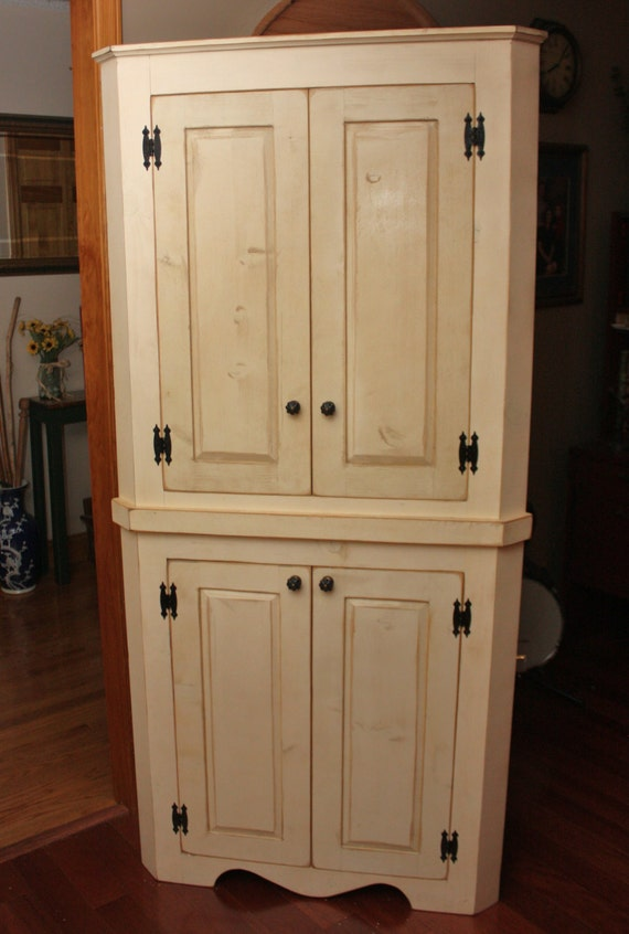 Hutch China Corner FREE SHIPPING Cabinet Pantry Shabby