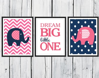 Nursery Decor - Elephants Prints - Chevron Nursery Prints - Dream Big Little One - Custom Colors