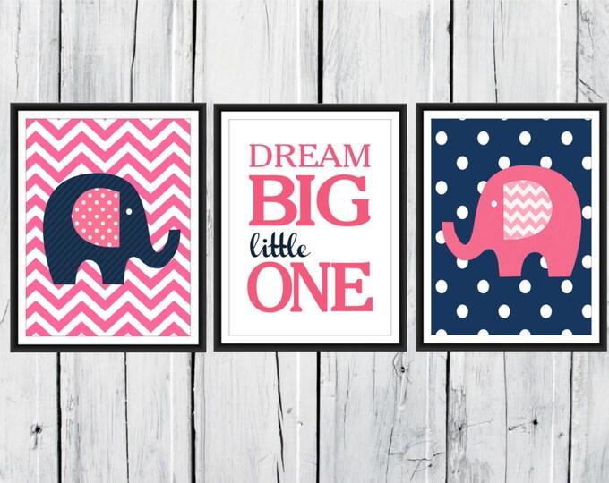 Nursery Decor - Elephants Prints - Chevron Nursery Prints - Dream Big Little One - Custom Colors