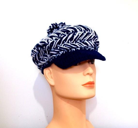 70's Hat - NOS UNUSED - Vintage Cap - Knitted Hat - Blue / White or Black / White - Unisex