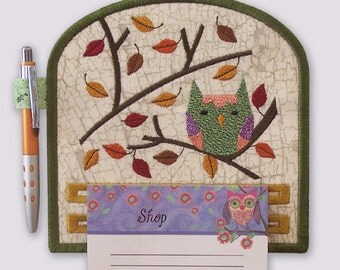 Fun Funky Woodland Owl Magnetic Embroidered Notepad Holder