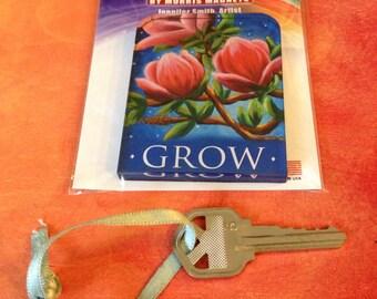 Grow - acrylic art magnet - magnolia, pink, midnight, blue