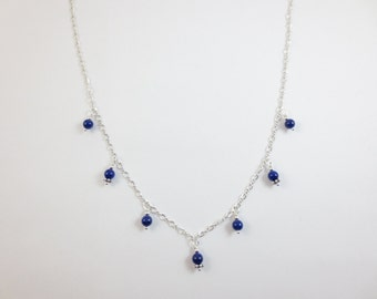 7 Drop Necklace - Lapis Lazuli Necklace - Beaded Necklace - Sterling Silver - 14k Gold Fill